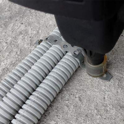 Монтаж гофротрубы к полу с помощью перфоленты и газового монтажного пистолета Toua GSN40A