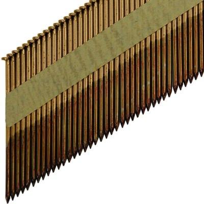 Реечные гвозди по дереву на бумажной кассете D34 гладкие с гальванизацией