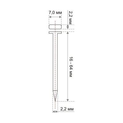 Т-образные гвозди по легкому бетону и кирпичу TOUA тип ST. Схематичное изображение