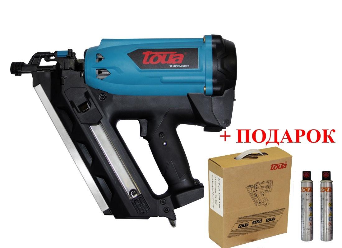 Пистолет газовый монтажный гвоздезабивной по дереву TOUA GFN3490CH+подарок